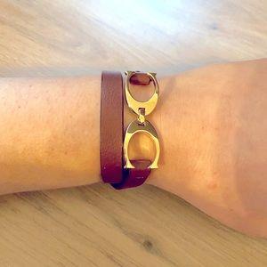 Authentic Coach Double C Leather Bracelet 99792